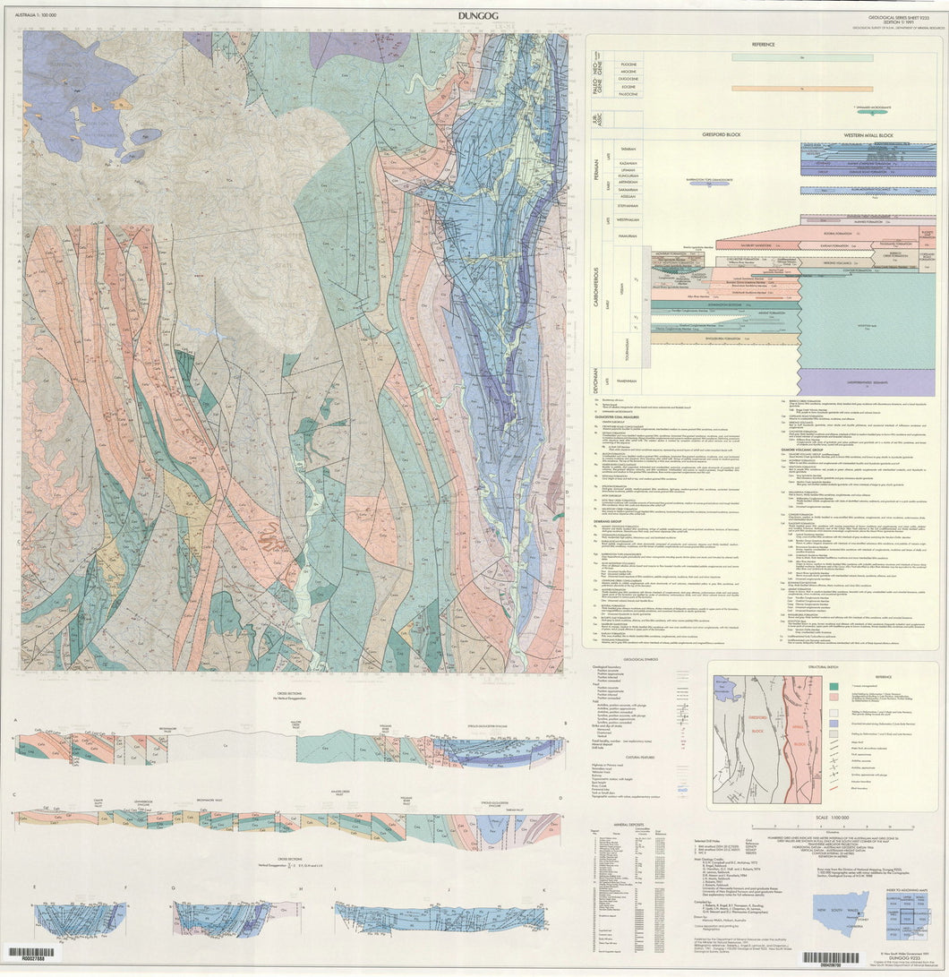 Image of Dungog 1:100000 Geological map