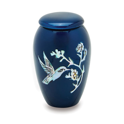 Hummingbird Mother of Pearl Cremation Urn