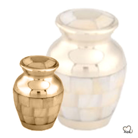 Mother of Pearl Cremation Urn in Gold & Pearl