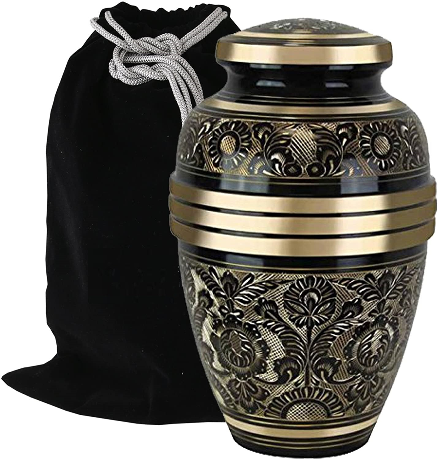 Elegant Aura Cremation Urn in Black/Gold - Adult Brass & Metal Urn for Ashes