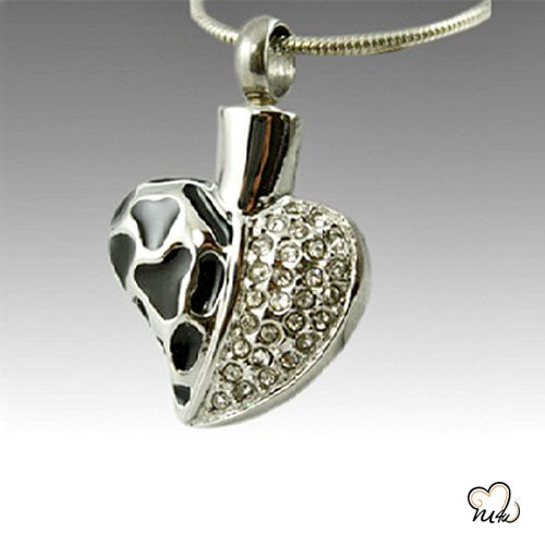 Anamel and Diamond Heart Cremation Pendant, Cremation Pendant - Memorials4u