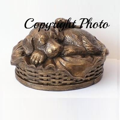 Angel Dog Urn in Copper