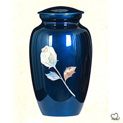 Antique Rose Mother of Pearl Cremation Urn, Hand Painted Cremation Urn - Memorials4u