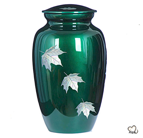 Autumn Leaves Mother of Pearl  Cremation Urn, Hand Painted Cremation Urn - Memorials4u