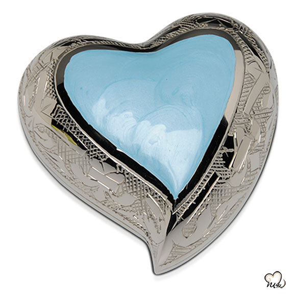 Baby Blue Finest Brass Cremation Keepsake Heart Display Stand, Infant Urn - Memorials4u