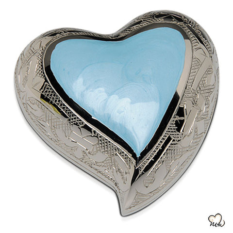 Baby Blue Finest Brass Cremation Keepsake Heart Display Stand