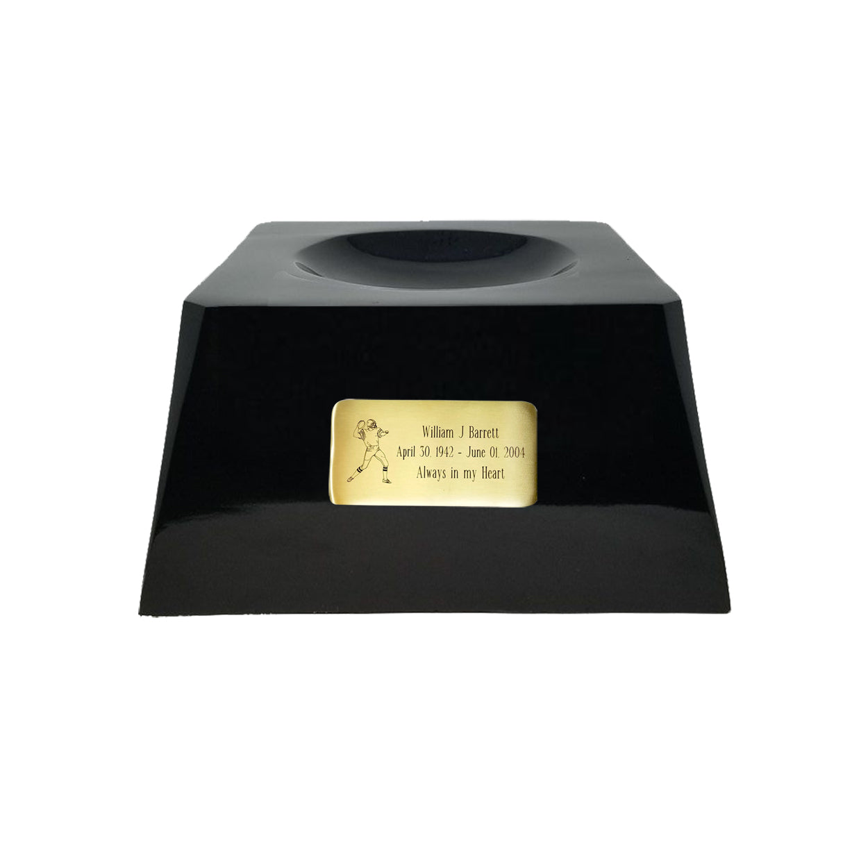 Football Cremation Urn with Optional Carolina Panthers Ball Decor and Custom Metal Plaque data-image-id=
