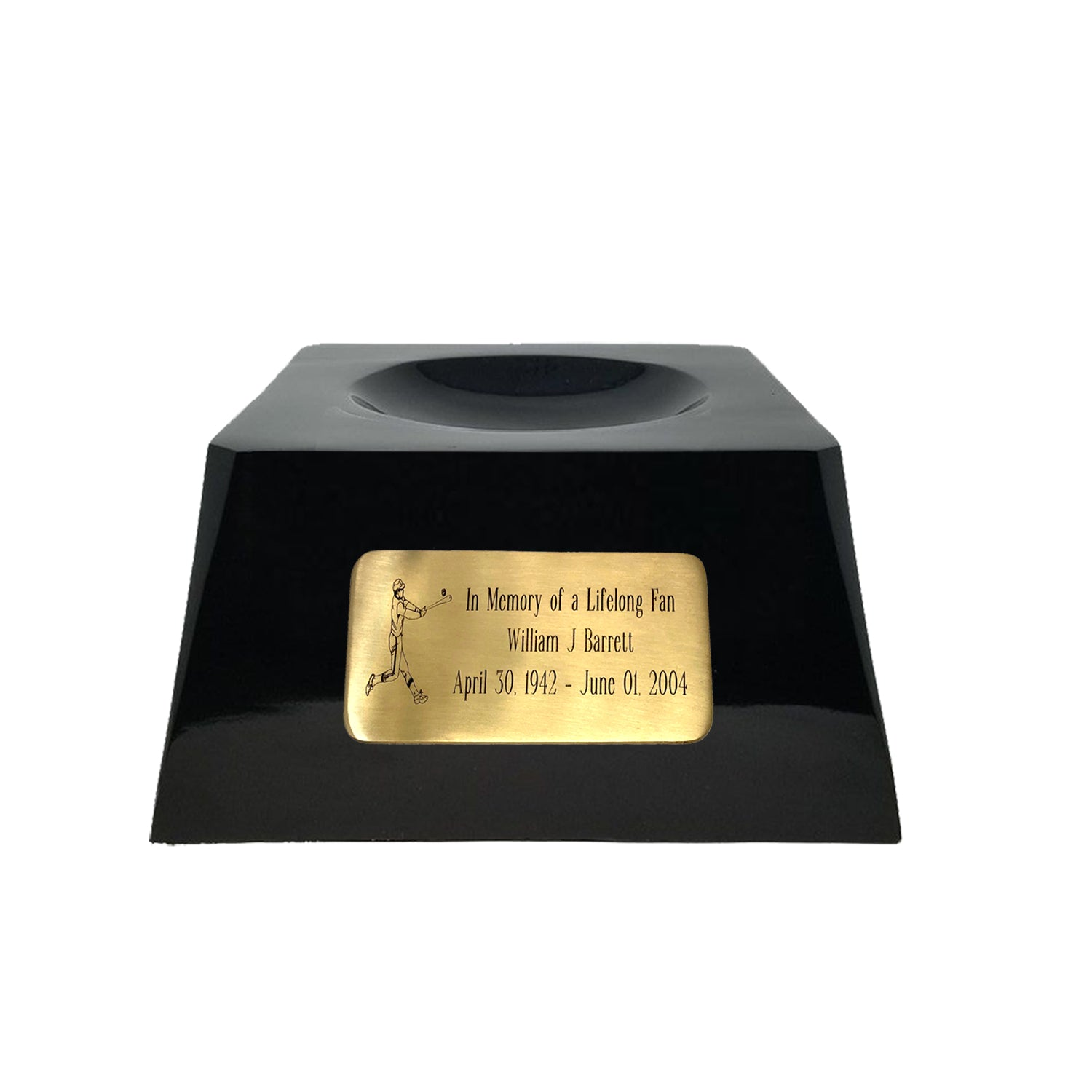 Baseball Cremation Urn with Optional Chicago Cubs Ball Decor and Custom Metal Plaque data-image-id=