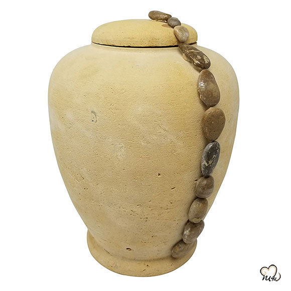 Beige Beaded String Biodegradable Sand Urn, Biodegradable Urn - Memorials4u data-image-id=