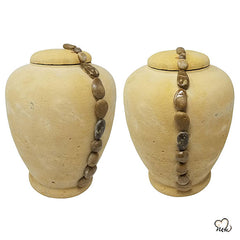 Beige Beaded String Biodegradable Sand Urn, Biodegradable Urn - Memorials4u