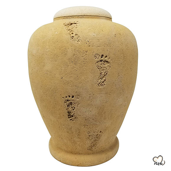 Beige Footprint Biodegradable Sand Urn, Biodegradable Urn - Memorials4u data-image-id=
