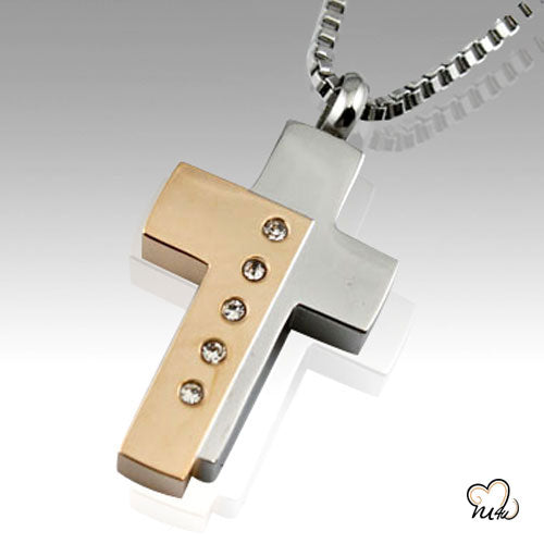 Bi-Color Cross Keepsake Cremation Pendant Jewelry, Cremation Pendant - Memorials4u
