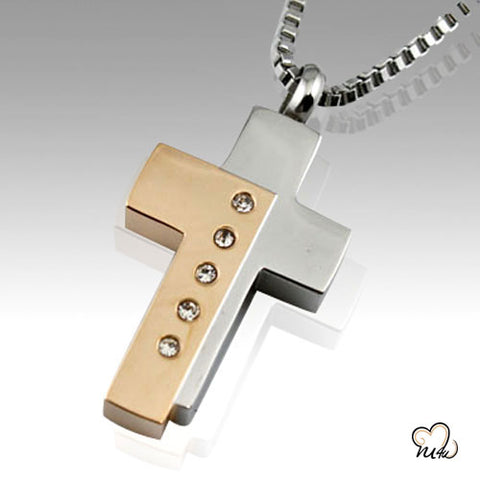 Bi-Color Cross Keepsake Cremation Pendant Jewelry