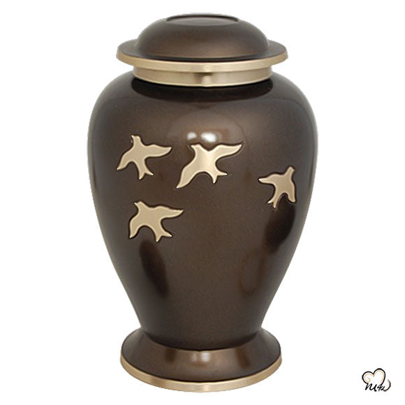 Birds In Flight Brass Cremation Urn, Brass Urns - Memorials4u
