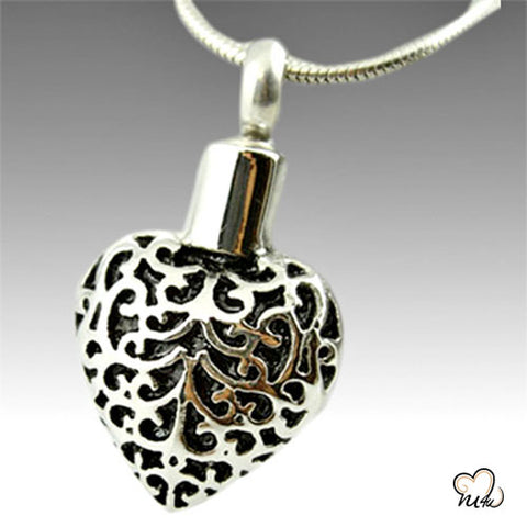 Black Art Heart Cremation Pendant Jewelry