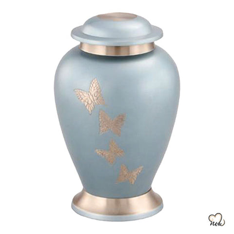 Teal Butterfly Urn for Ashes