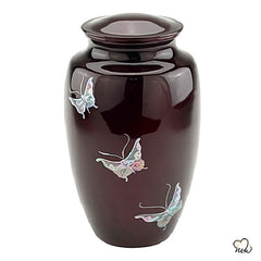 Butterfly Mother of Pearl Cremation Urn, Hand Painted Cremation Urn - Memorials4u