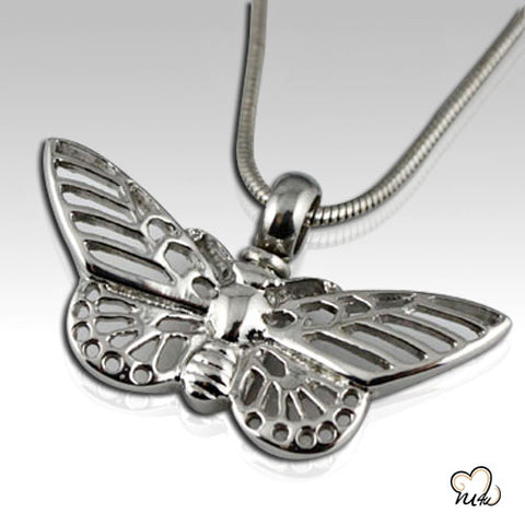 Butterfly Stainless Steel Cremation Keepsake Pendant