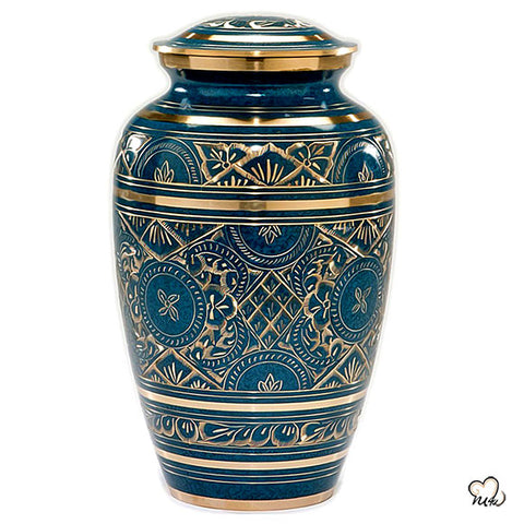 Caribbean Cremation Urn in Blue, Adult Brass & Metal Urn for Ashes
