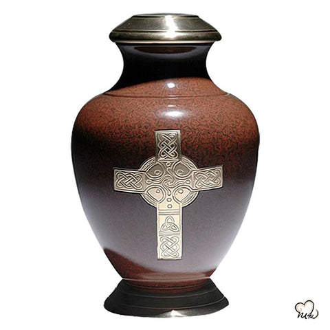 Celtic Religious Brass Cremation Urn - Brown
