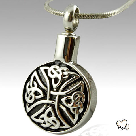 Circular Art Stainless Steel Cremation Keepsake Pendant