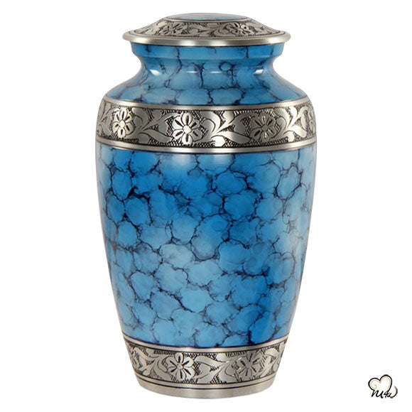 Classic Alloy Cremation Urn - Ocean Blue Fire, Alloy Urns - Memorials4u data-image-id=