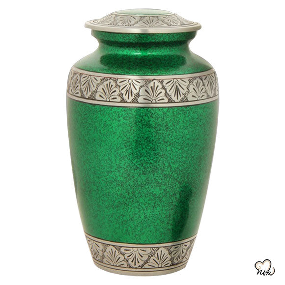 Classic Alloy Cremation Urn - Royal Green, Alloy Urns - Memorials4u data-image-id=