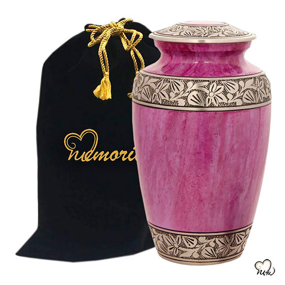 Classic Alloy Cremation Urn - Lotus Pink, Alloy Urns - Memorials4u data-image-id=