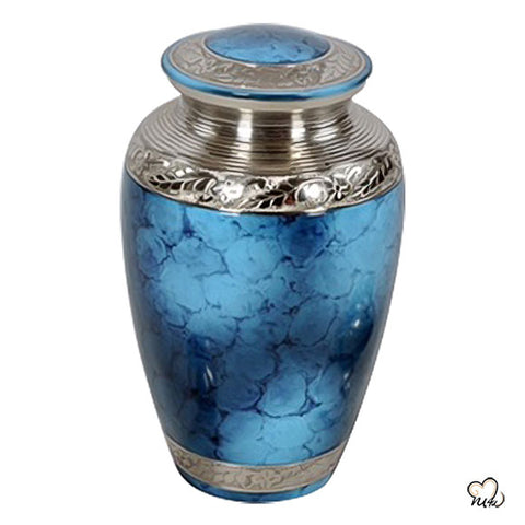 Classic Iris Urn for Ashes - Classic Iris Cremation Urn for Human & Adult Ashes in Blue & Silver - Memorials4u