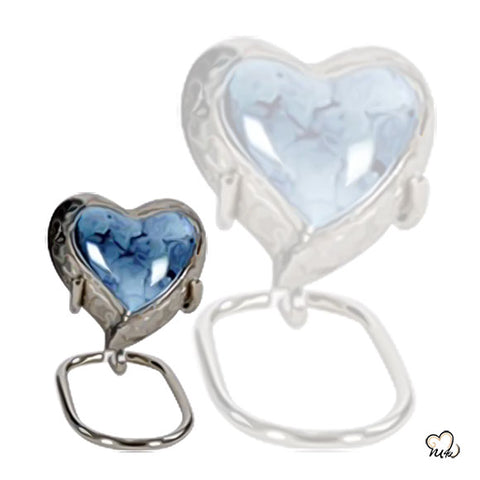 Classic Iris Heart Keepsake for Ashes - Classic Iris Heart Keepsake Urn for Human & Adult Ashes in Blue & Silver - Memorials4u