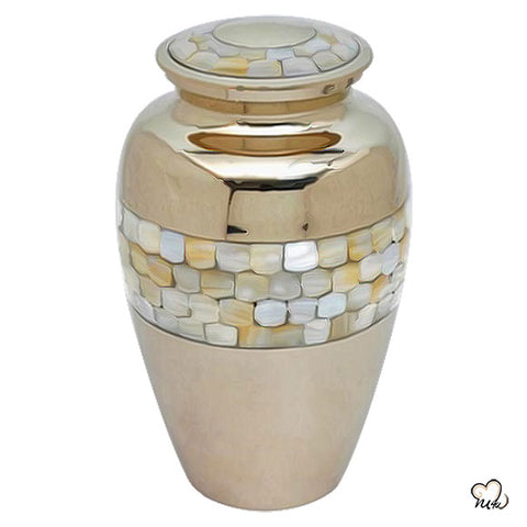 Classic Mother of Pearl Brass Urn, Brass Urns - Memorials4u