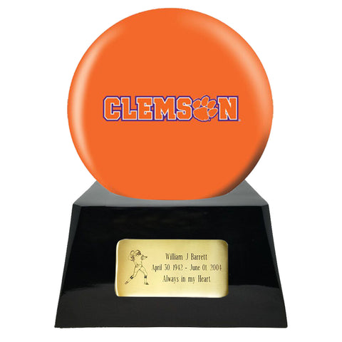 Football Cremation Urn With Optional Clemson Tiger Ball Decor and Custom Metal Plaque