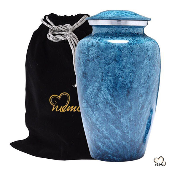 Coral Alloy Cremation Urn - Blue and Silver, Alloy Urns - Memorials4u