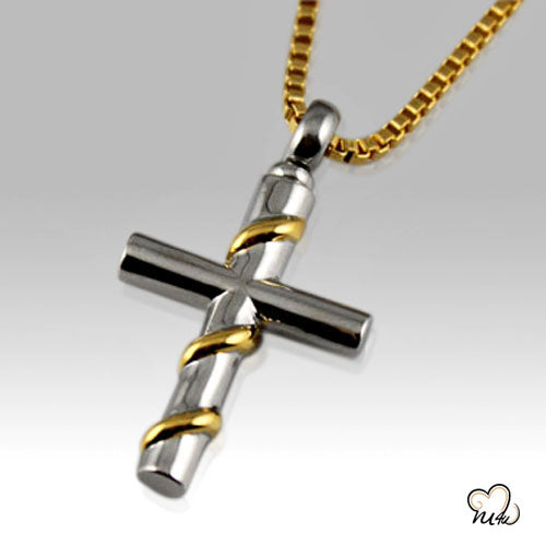 Cross with Gold Wire Wrapped Keepsake Pendant, Cremation Pendant - Memorials4u