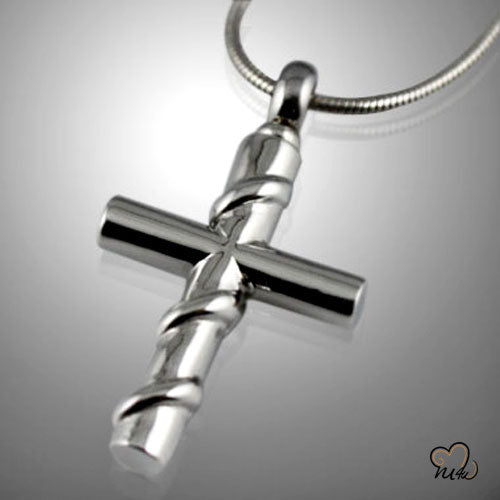 Cross with Silver Wire Wrapped Cremation Keepsake Pendent, Cremation Pendant - Memorials4u