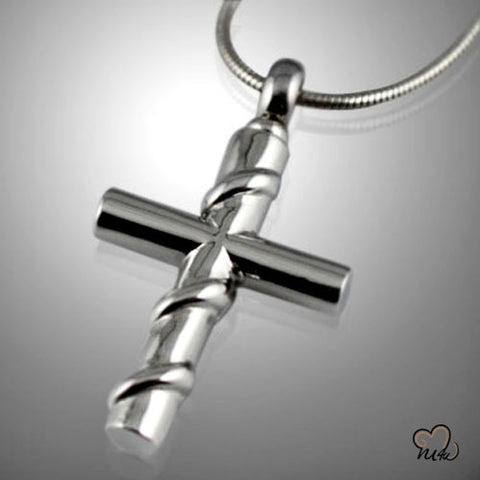 Cross with Silver Wire Wrapped Cremation Keepsake Pendent