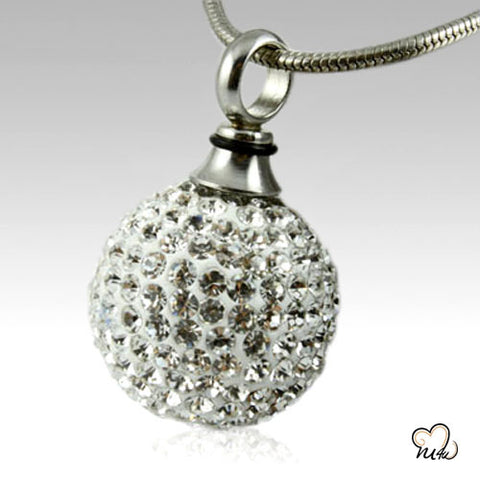 Crystal Ball Stainless Steel Keepsake Pendant