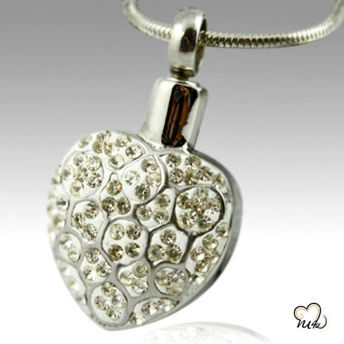 Crystal Heart Stainless Steel Cremation Keepsake Pendant, Cremation Pendant - Memorials4u