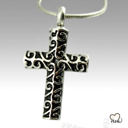 Curvy Cross Stainless Steel Cremation Keepsake Pendant, Cremation Pendant - Memorials4u