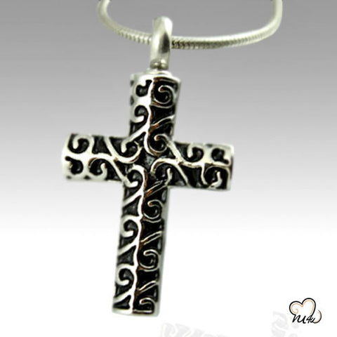 Curvy Cross Stainless Steel Cremation Keepsake Pendant