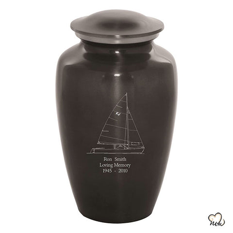 Custom Engraved Sail Boat Cremation Urn