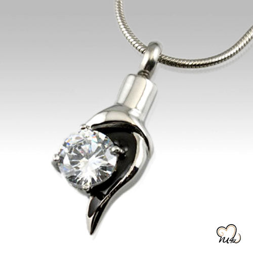 Diamond Accent Stainless Steel Cremation Keepsake Pendant, Cremation Pendant - Memorials4u