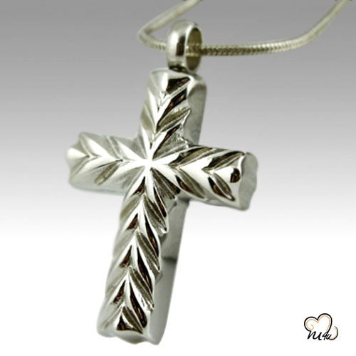 Elegant Cross Stainless Steel Cremation Keepsake Pendant, Cremation Pendant - Memorials4u