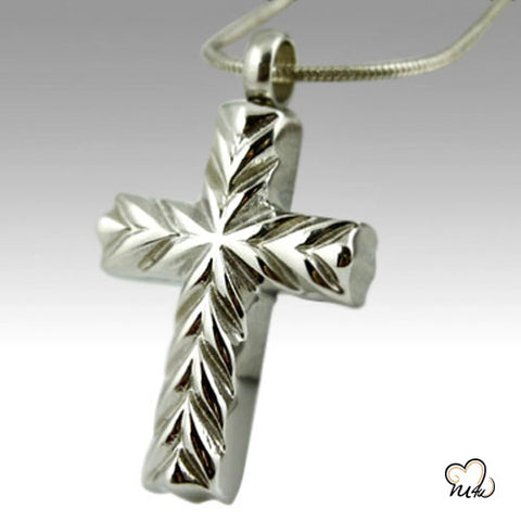 Elegant Cross Stainless Steel Cremation Keepsake Pendant