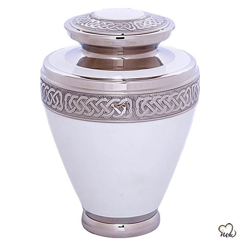 Elegant White Cremation Urn