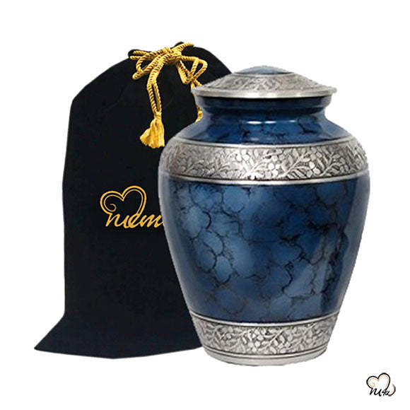 Elite Cloud Alloy Cremation Urn - Blue and Silver - Large
