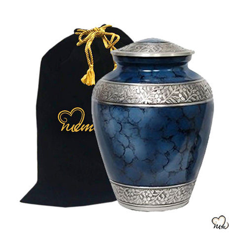 Elite Cloud Alloy Cremation Urn - Blue and Silver