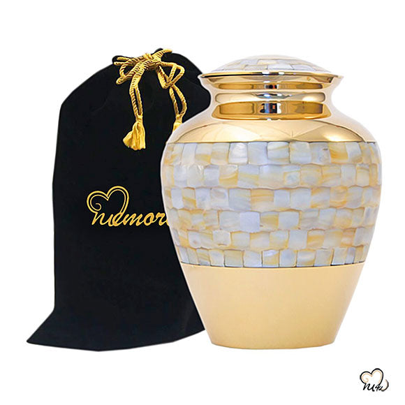 Elite Mother of Pearl Cremation Urn, Brass Urns - Memorials4u