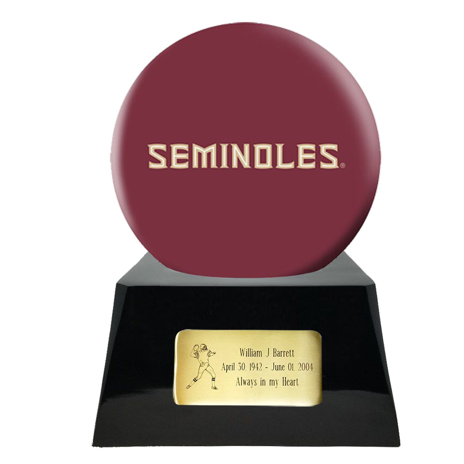 Football Urn - Florida State University Seminoles Ball Decor with Custom Metal Plaque Football Cremation Urn for Human Ashes - NFL URN - Memorials4u