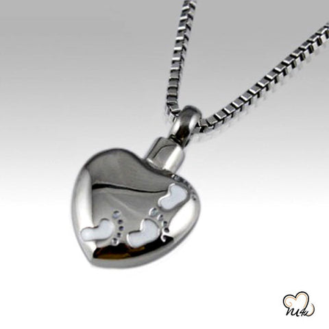 Foot Print Stainless Steel Cremation Keepsake Pendant, Cremation Pendant - Memorials4u